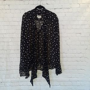 Denim & Supply Navy w/ white stars sheer blouse